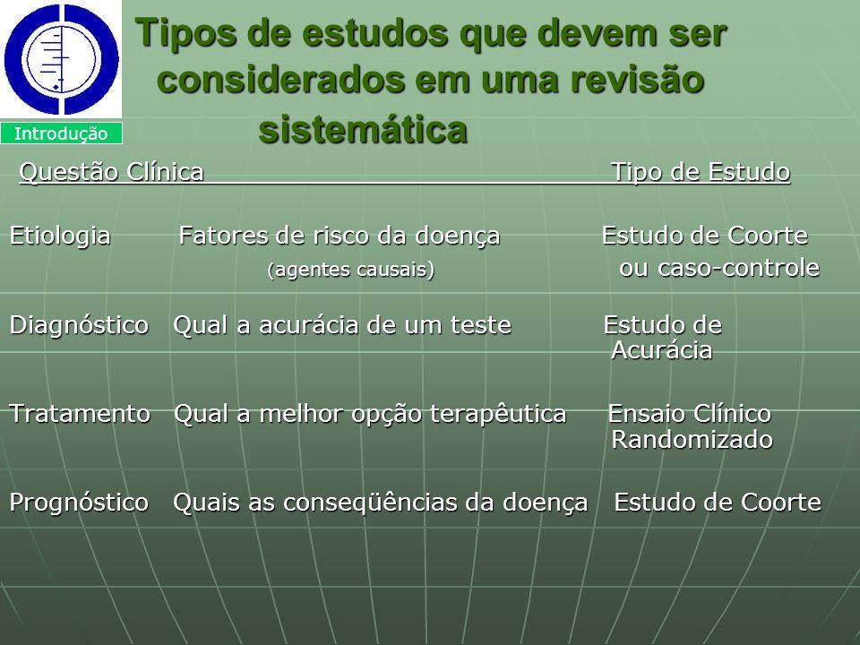 Tipos de estudos que devem ser considerados em uma revisão sistemática