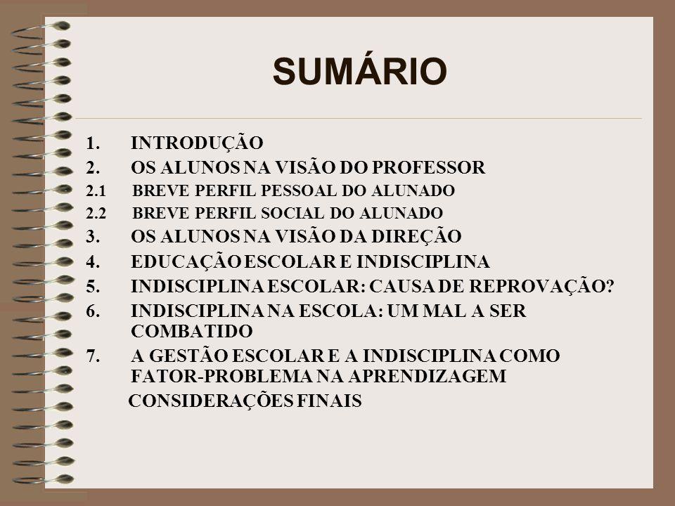 SUMÁRIO INTRODUÇÃO OS ALUNOS NA VISÃO DO PROFESSOR