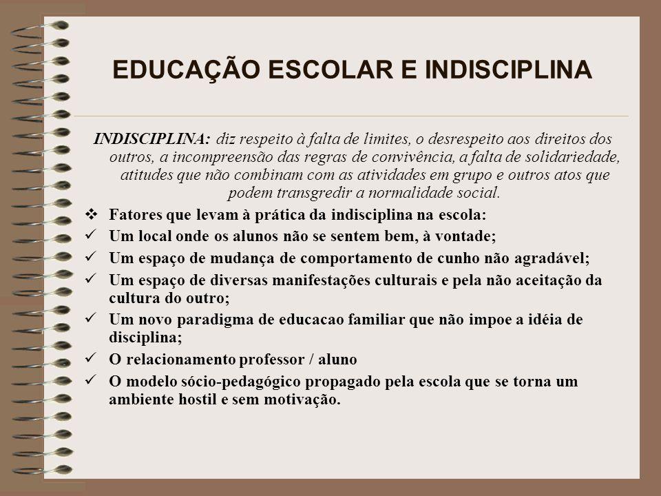 EDUCAÇÃO ESCOLAR E INDISCIPLINA