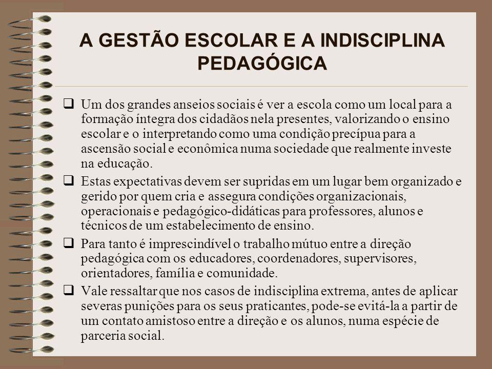 A GESTÃO ESCOLAR E A INDISCIPLINA PEDAGÓGICA