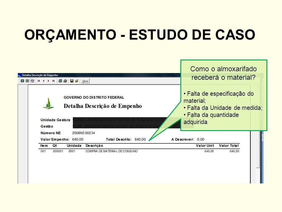 ORÇAMENTO - ESTUDO DE CASO