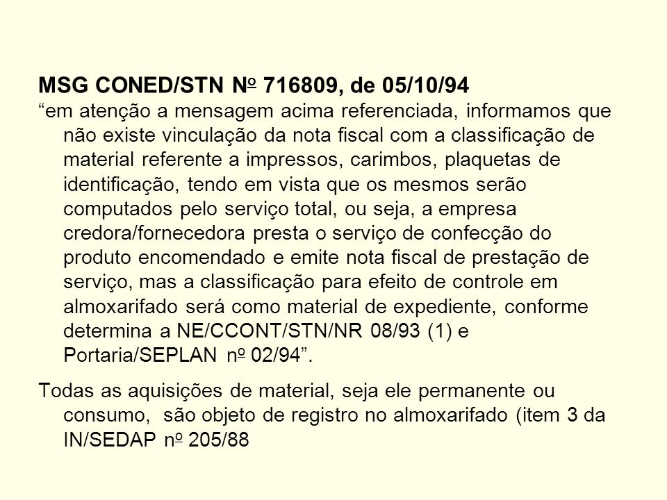 MSG CONED/STN No 716809, de 05/10/94
