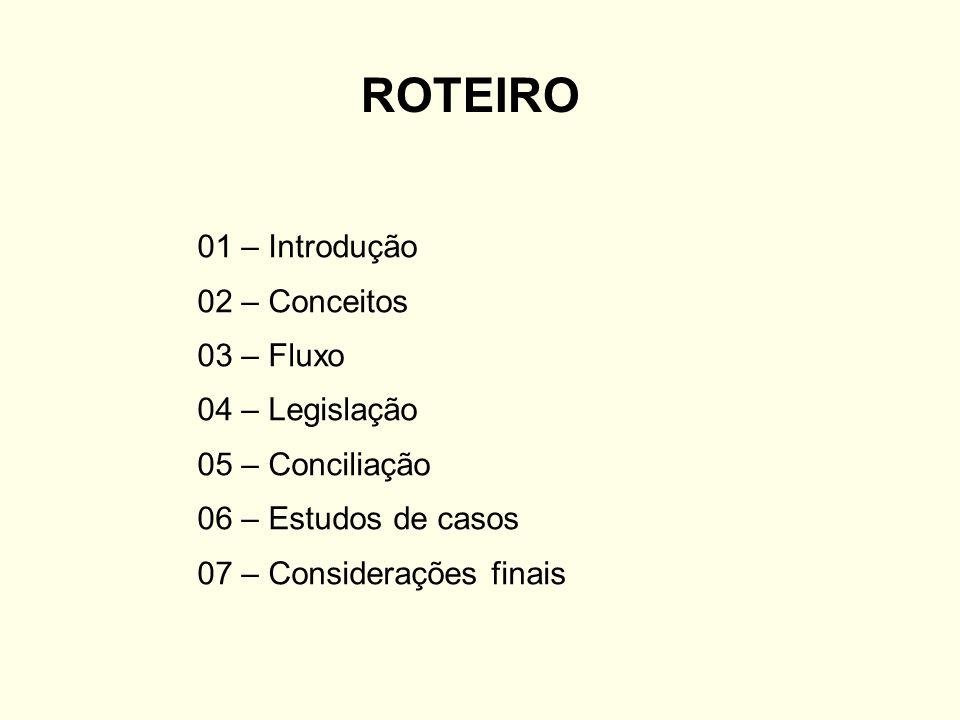 ROTEIRO 01 – Introdução 02 – Conceitos 03 – Fluxo 04 – Legislação