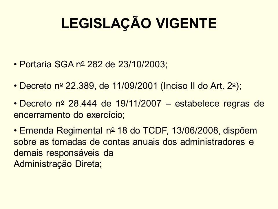 LEGISLAÇÃO VIGENTE Portaria SGA no 282 de 23/10/2003;