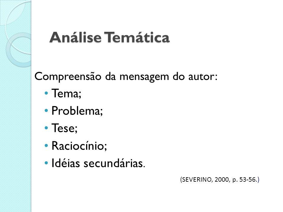 Análise Temática Tema; Problema; Tese; Raciocínio; Idéias secundárias.