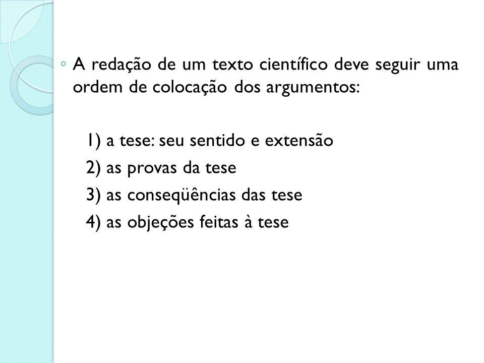 3) as conseqüências das tese 4) as objeções feitas à tese