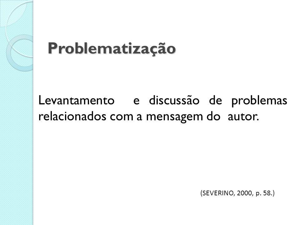 Problematização Levantamento e discussão de problemas relacionados com a mensagem do autor.