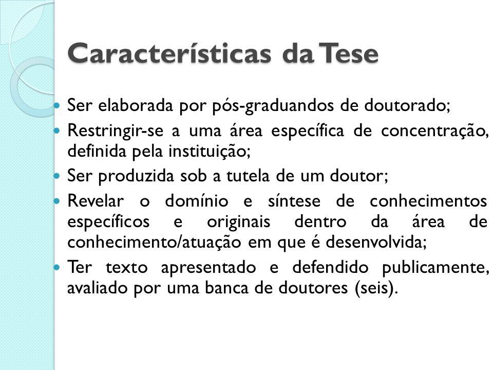 Características da Tese