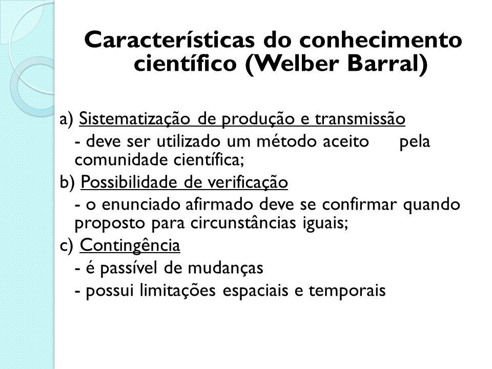 Características do conhecimento científico (Welber Barral)