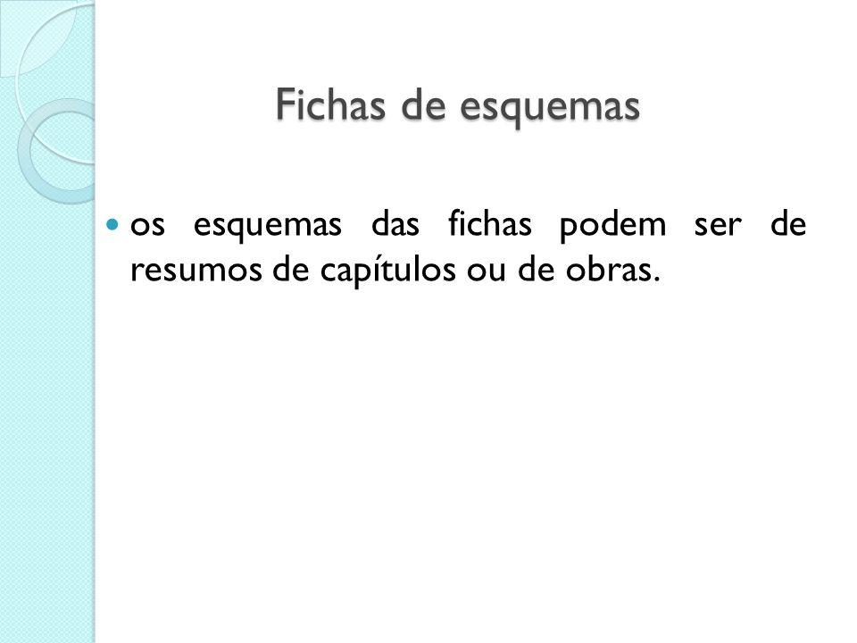 Fichas de esquemas os esquemas das fichas podem ser de resumos de capítulos ou de obras.