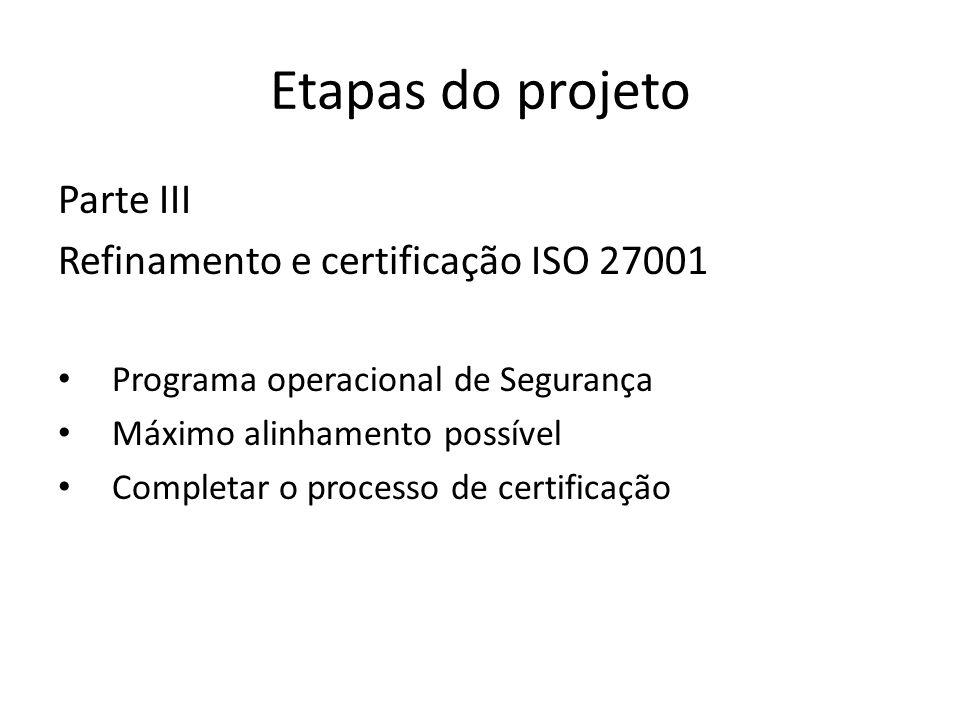 Etapas do projeto Parte III Refinamento e certificação ISO 27001