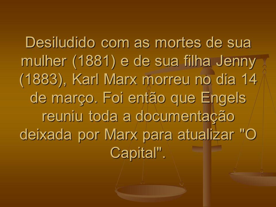 Desiludido com as mortes de sua mulher (1881) e de sua filha Jenny (1883), Karl Marx morreu no dia 14 de março.