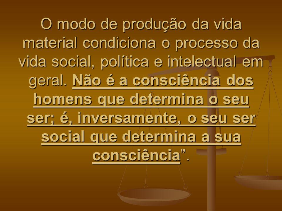 O modo de produção da vida material condiciona o processo da vida social, política e intelectual em geral.