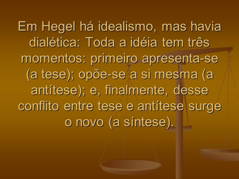 Em Hegel há idealismo, mas havia dialética: Toda a idéia tem três momentos: primeiro apresenta-se (a tese); opõe-se a si mesma (a antítese); e, finalmente, desse conflito entre tese e antítese surge o novo (a síntese).