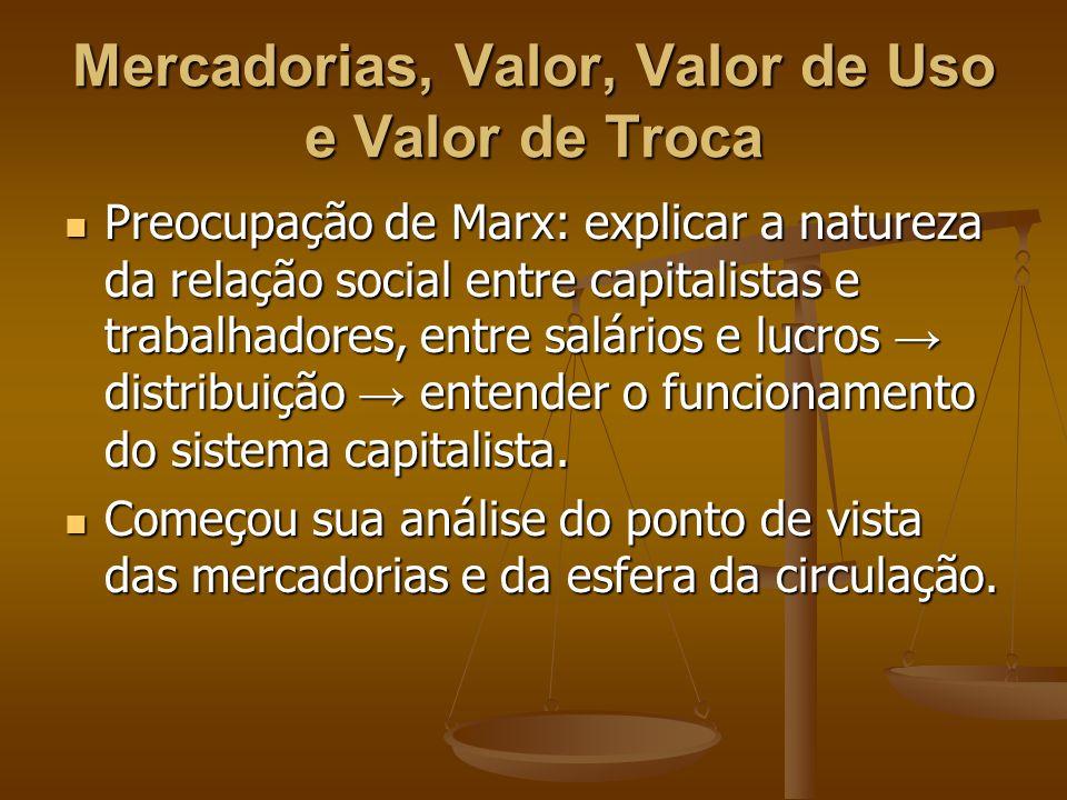 Mercadorias, Valor, Valor de Uso e Valor de Troca