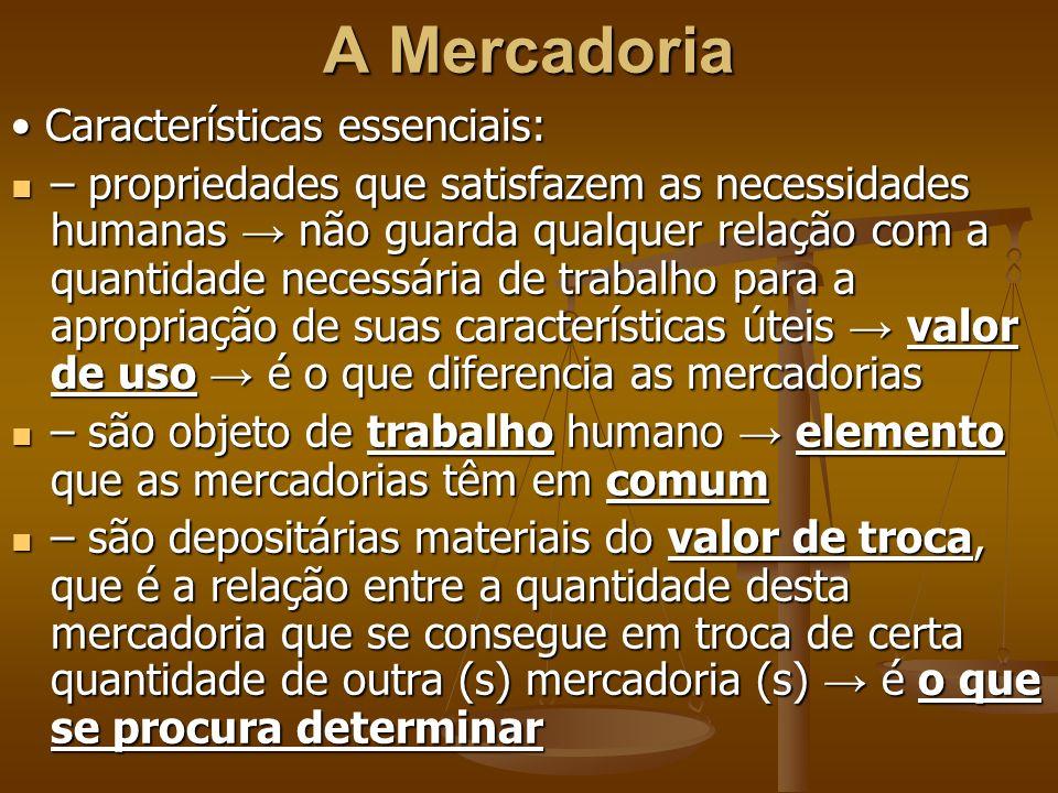 A Mercadoria • Características essenciais: