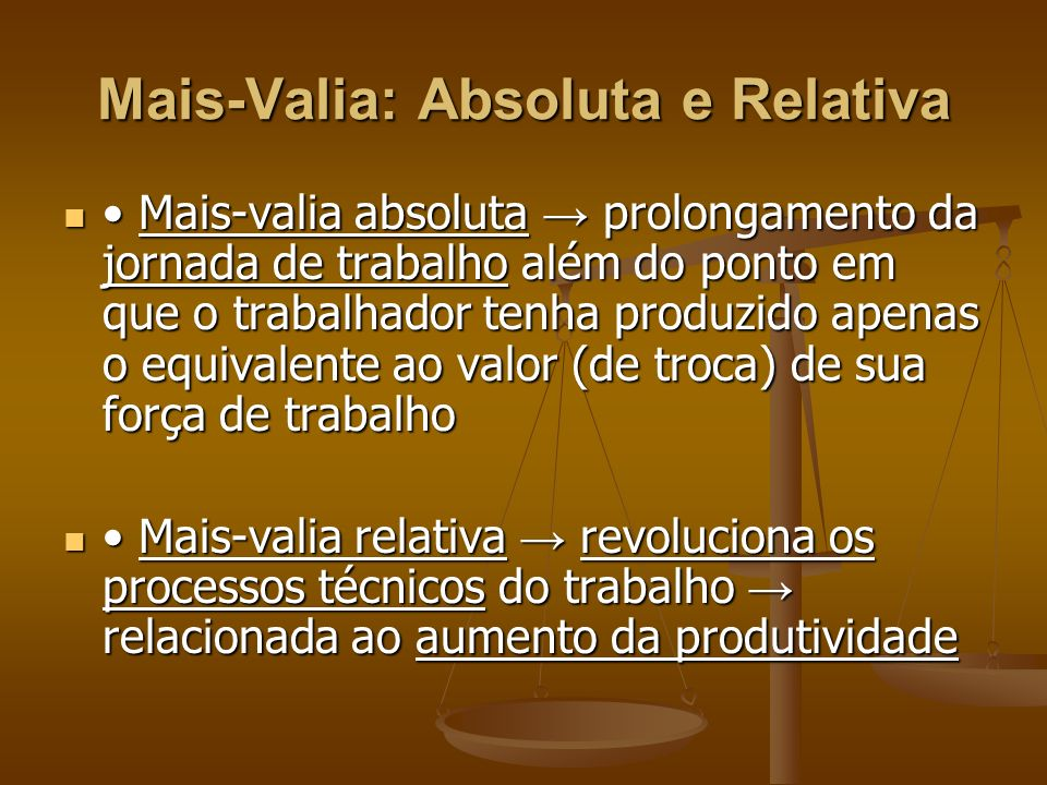 Mais-Valia: Absoluta e Relativa