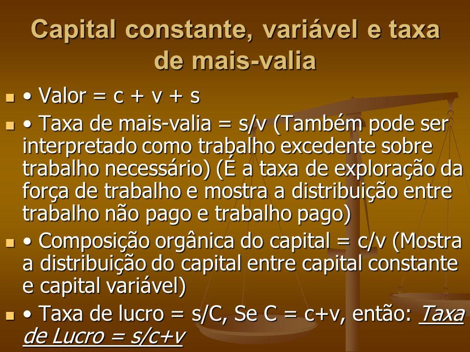 Capital constante, variável e taxa de mais-valia