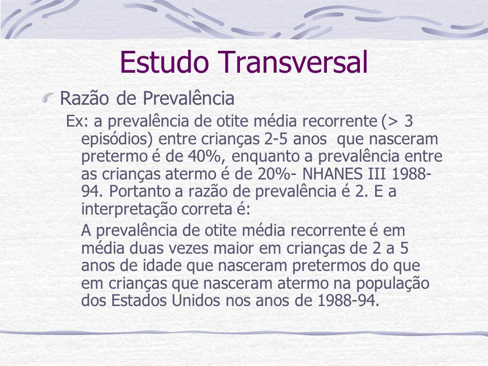 Estudo Transversal Razão de Prevalência