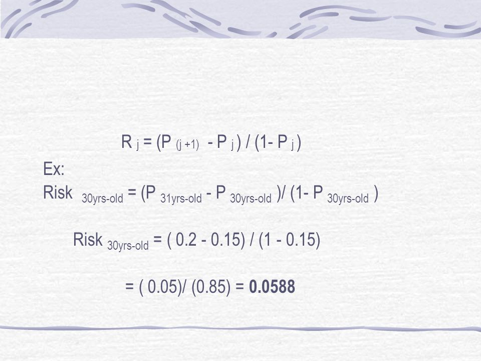 R j = (P (j +1) - P j ) / (1- P j ) Ex: Risk 30yrs-old = (P 31yrs-old - P 30yrs-old )/ (1- P 30yrs-old )