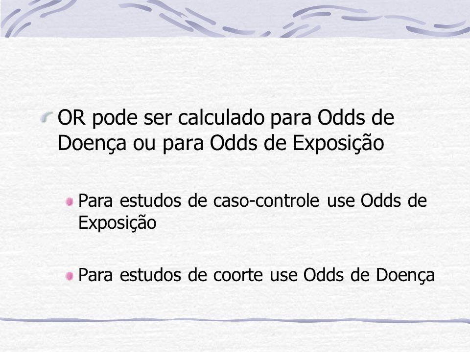 OR pode ser calculado para Odds de Doença ou para Odds de Exposição
