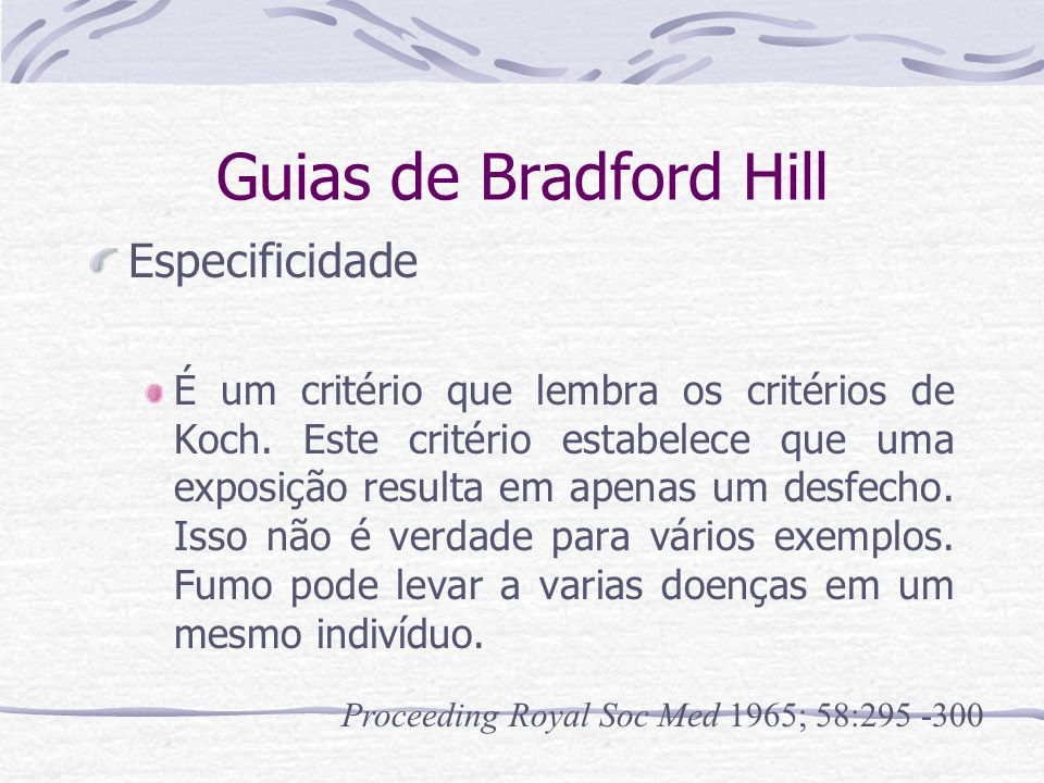 Guias de Bradford Hill Especificidade
