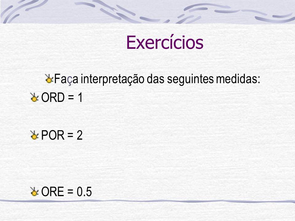 Exercícios Faça interpretação das seguintes medidas: ORD = 1 POR = 2