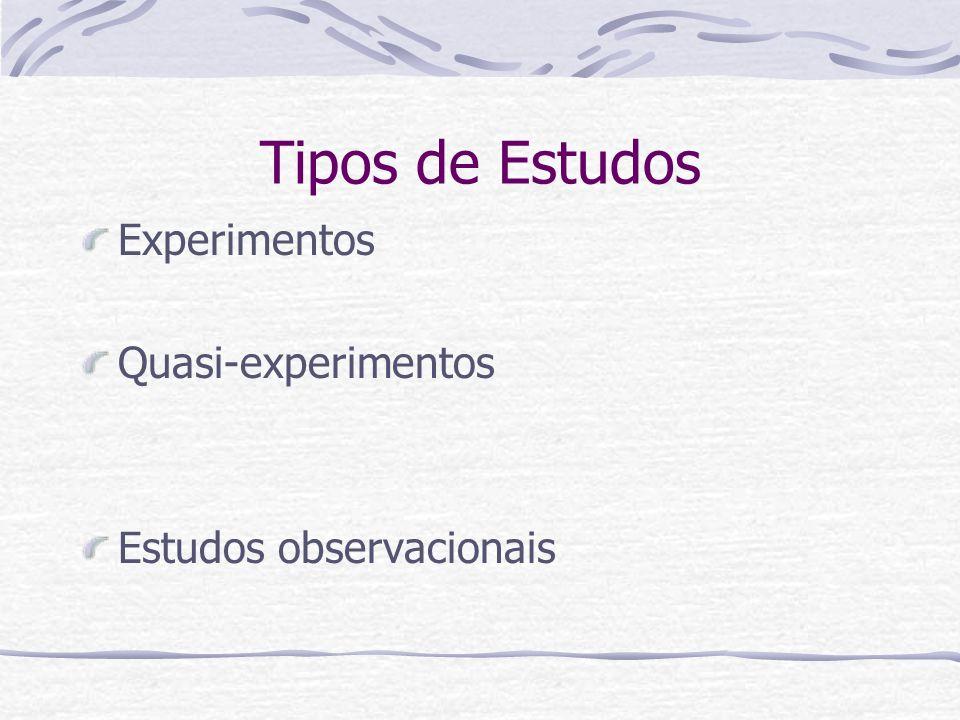Tipos de Estudos Experimentos Quasi-experimentos