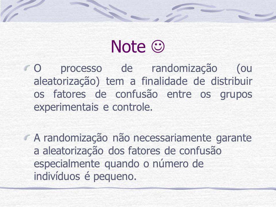 Note  O processo de randomização (ou aleatorização) tem a finalidade de distribuir os fatores de confusão entre os grupos experimentais e controle.