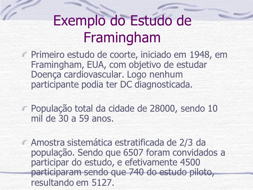 Exemplo do Estudo de Framingham