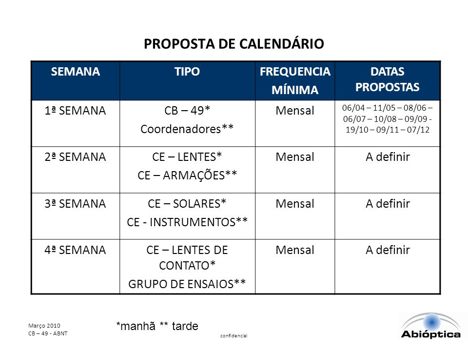 PROPOSTA DE CALENDÁRIO