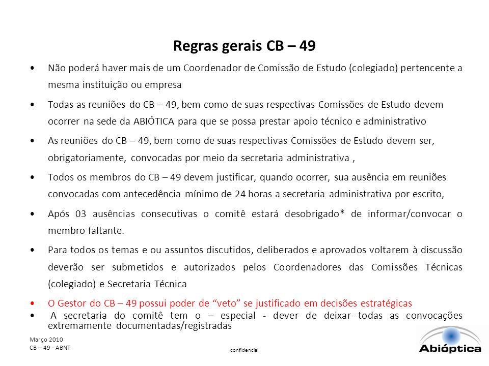 Regras gerais CB – 49 Não poderá haver mais de um Coordenador de Comissão de Estudo (colegiado) pertencente a mesma instituição ou empresa.