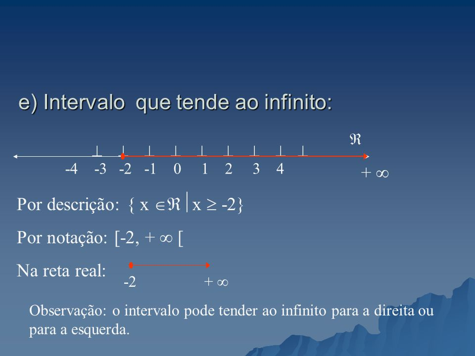 e) Intervalo que tende ao infinito: