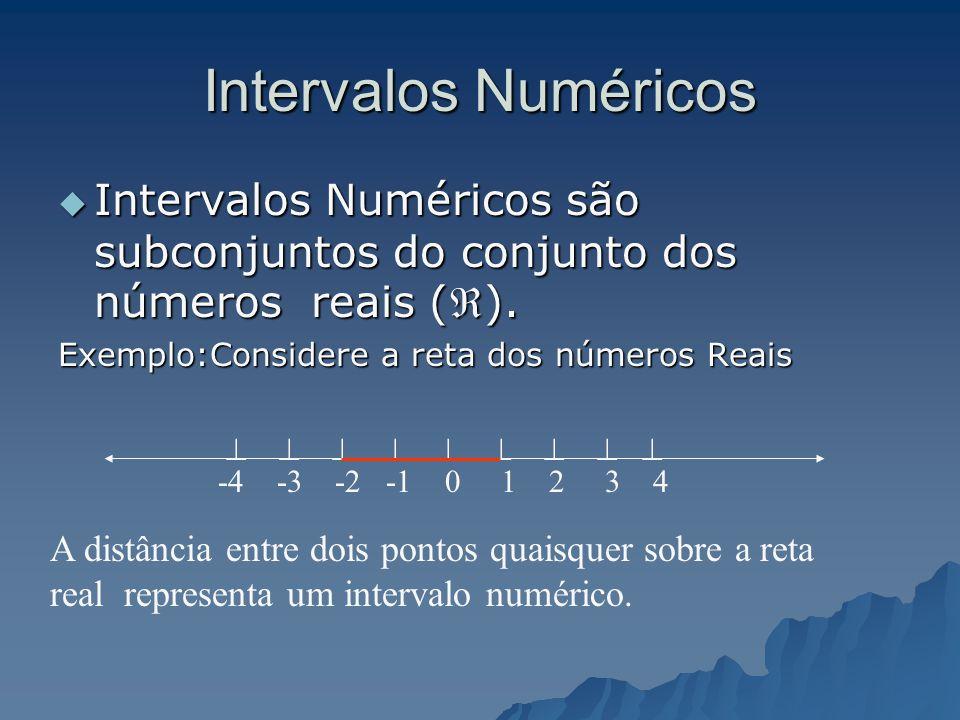 Intervalos Numéricos Intervalos Numéricos são subconjuntos do conjunto dos números reais (). Exemplo:Considere a reta dos números Reais.