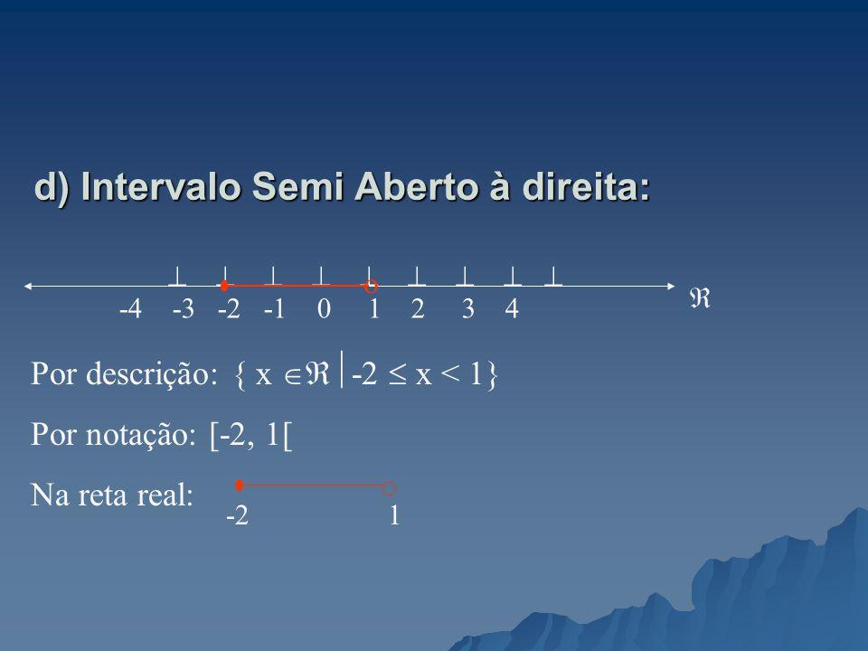 d) Intervalo Semi Aberto à direita: