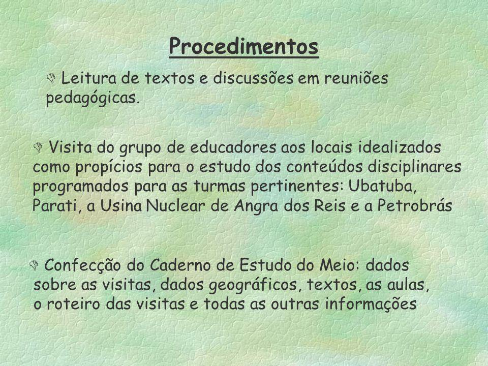 Procedimentos  Leitura de textos e discussões em reuniões pedagógicas.