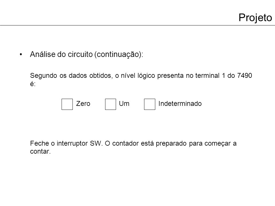 Projeto Análise do circuito (continuação):