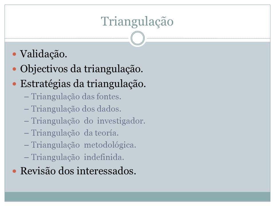 Triangulação Validação. Objectivos da triangulação.