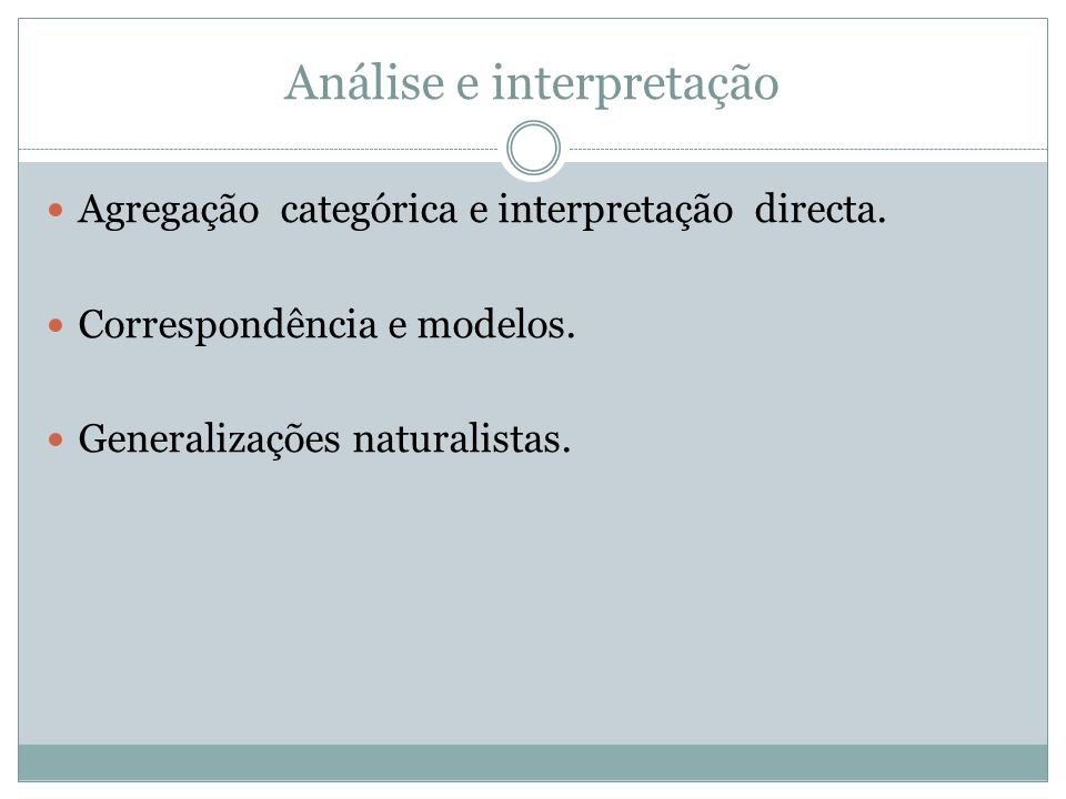 Análise e interpretação