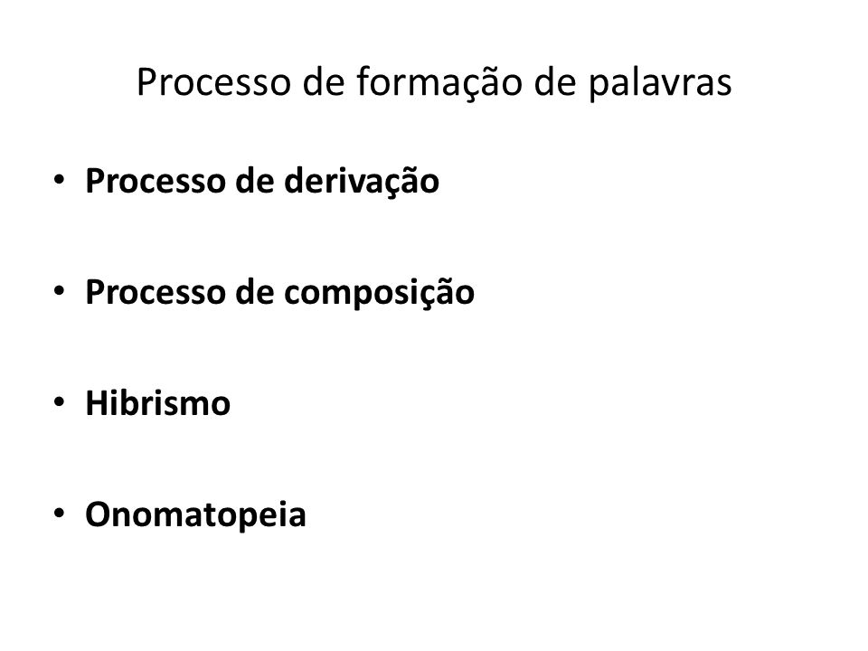 Processo de formação de palavras