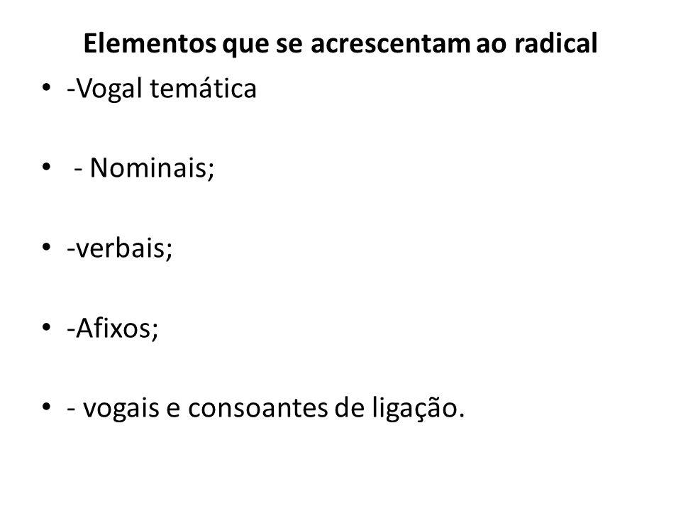 Elementos que se acrescentam ao radical
