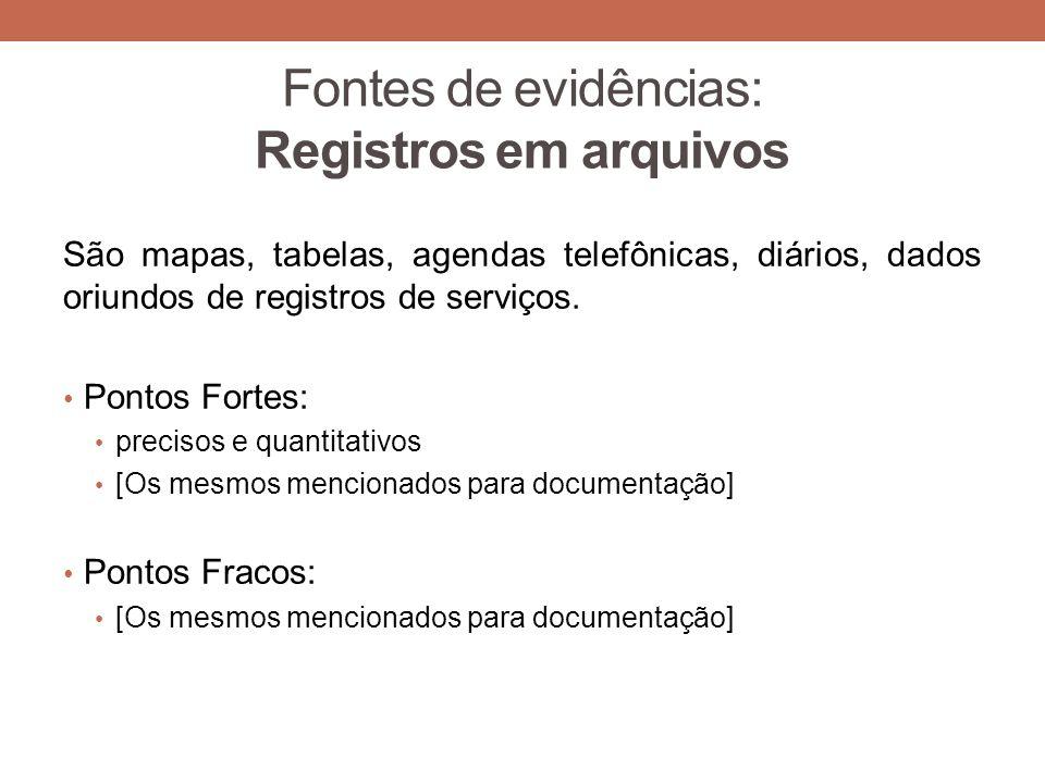 Fontes de evidências: Registros em arquivos