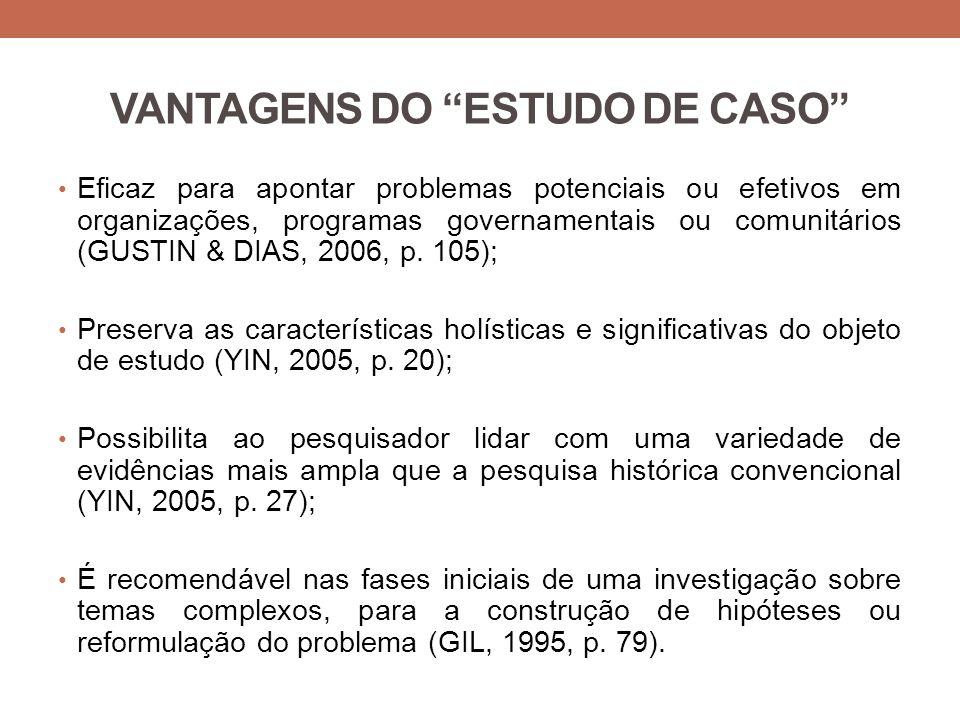 VANTAGENS DO ESTUDO DE CASO