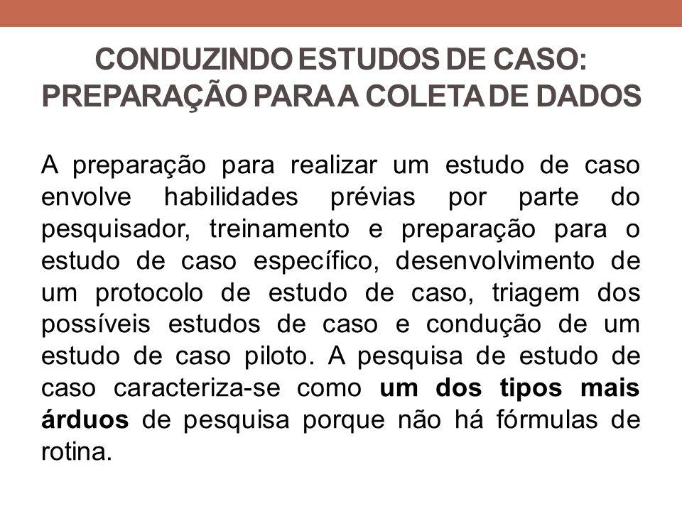 CONDUZINDO ESTUDOS DE CASO: PREPARAÇÃO PARA A COLETA DE DADOS