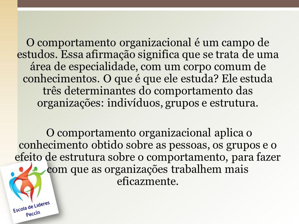 O comportamento organizacional é um campo de estudos