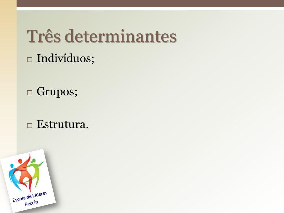 Três determinantes Indivíduos; Grupos; Estrutura.
