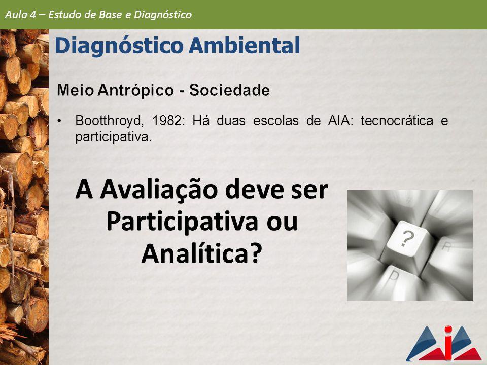 Diagnóstico Ambiental A Avaliação deve ser Participativa ou Analítica