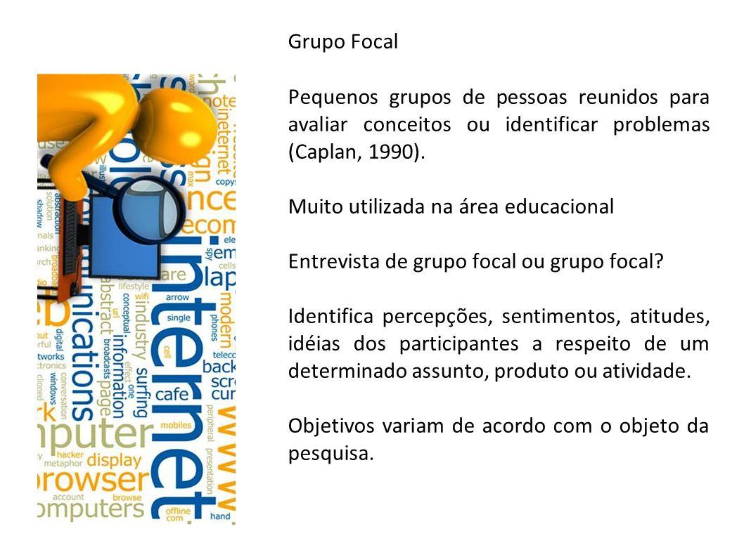Grupo Focal Pequenos grupos de pessoas reunidos para avaliar conceitos ou identificar problemas (Caplan, 1990).