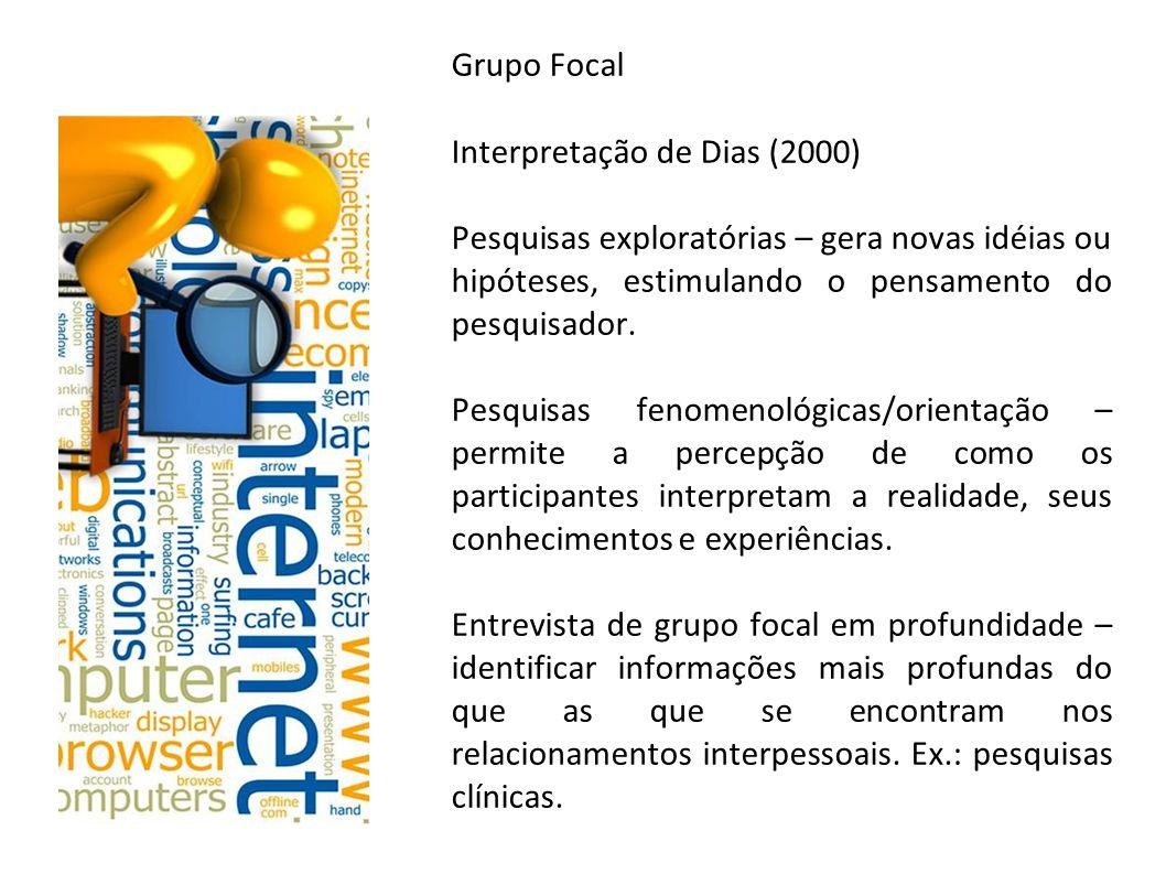 Grupo Focal Interpretação de Dias (2000) Pesquisas exploratórias – gera novas idéias ou hipóteses, estimulando o pensamento do pesquisador.
