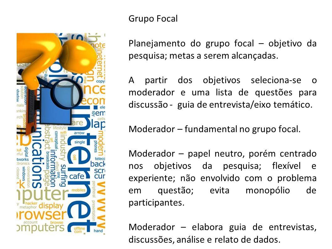 Grupo Focal Planejamento do grupo focal – objetivo da pesquisa; metas a serem alcançadas.